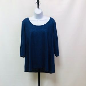 Eileen Fisher Blue/Black Striped 3/4 Sleeve Tee